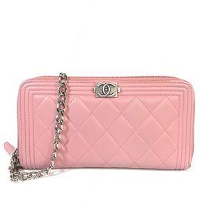 ❤️💋CHANEL BOY Wallet On Chain Leather Wristlet